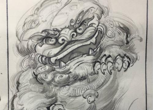 霸气唐狮纹身原创手稿