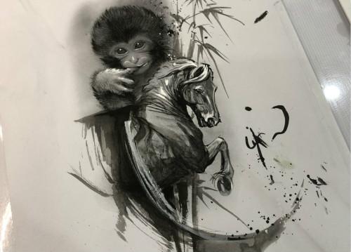 <b>水墨风悟道猴子纹身原创手稿</b>