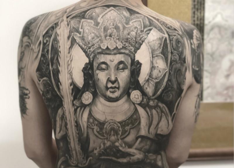 霸气满背纹身虚空藏菩萨满背纹身图案
