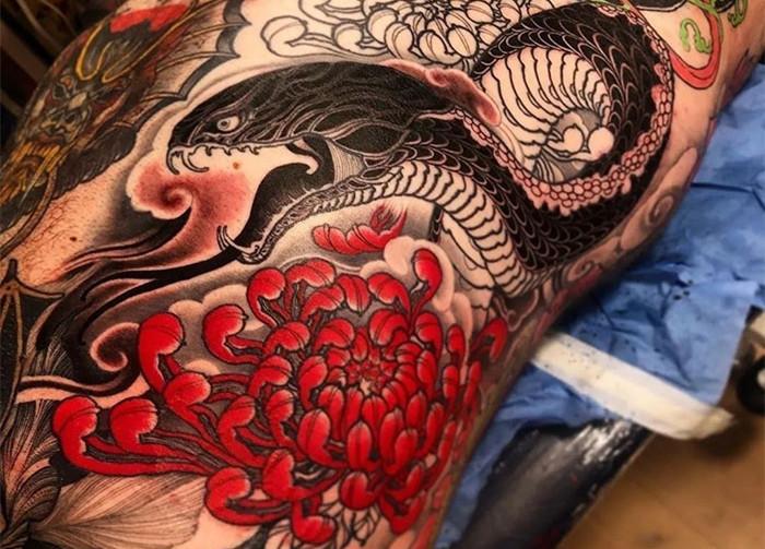 <strong>传统纹身效果图&手稿欣赏|日落与你皆</strong>